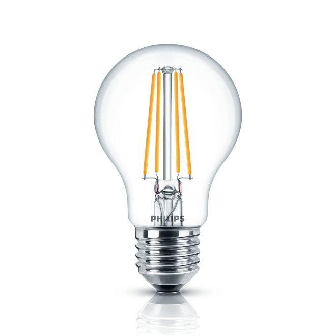 Philips Classic LEDbulb 7-60W E27 827 A60 klar FIL - Mit den Philips Classic Filament Lampen setzen Sie auf moderne, fortgeschrittene LED-Technik und erhalten dabei trotzdem den Charme der klassischen Glühlampe. Sie kommen besonders in historischen Design Leuchten oder Kronleuchtern zur Geltung. Die Glühfäden erinnern an die Optik der alten Glühlampen und schaffen so eine gemütliche Atmosphäre in Ihrem Raum. Durch den breiten Abstrahlwinkel, sind sie ideal zum Ausleuchten von Räumen. #altenkronleuchter