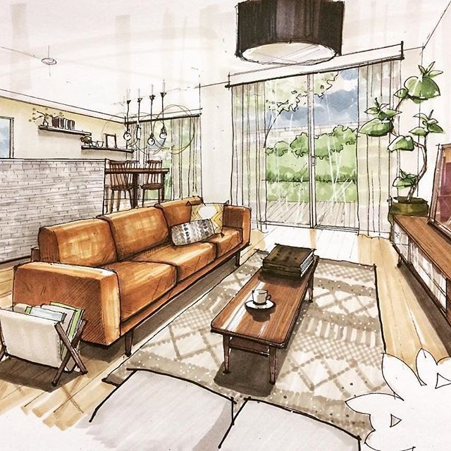 Lovely Use Of Warm Colours For This Living Room Illustration By