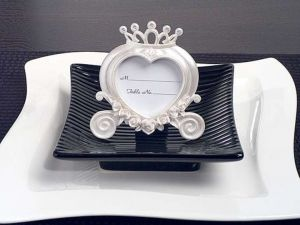 Heart Shaped Wedding Coach Place Card Frame Pearl White-set Of 10  $29