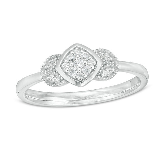 1 10 Ct T W Composite Diamond Petal Sides Vintage Style Ring In 10k White Gold Vintage Style Rings White Gold Beautiful Diamond Rings