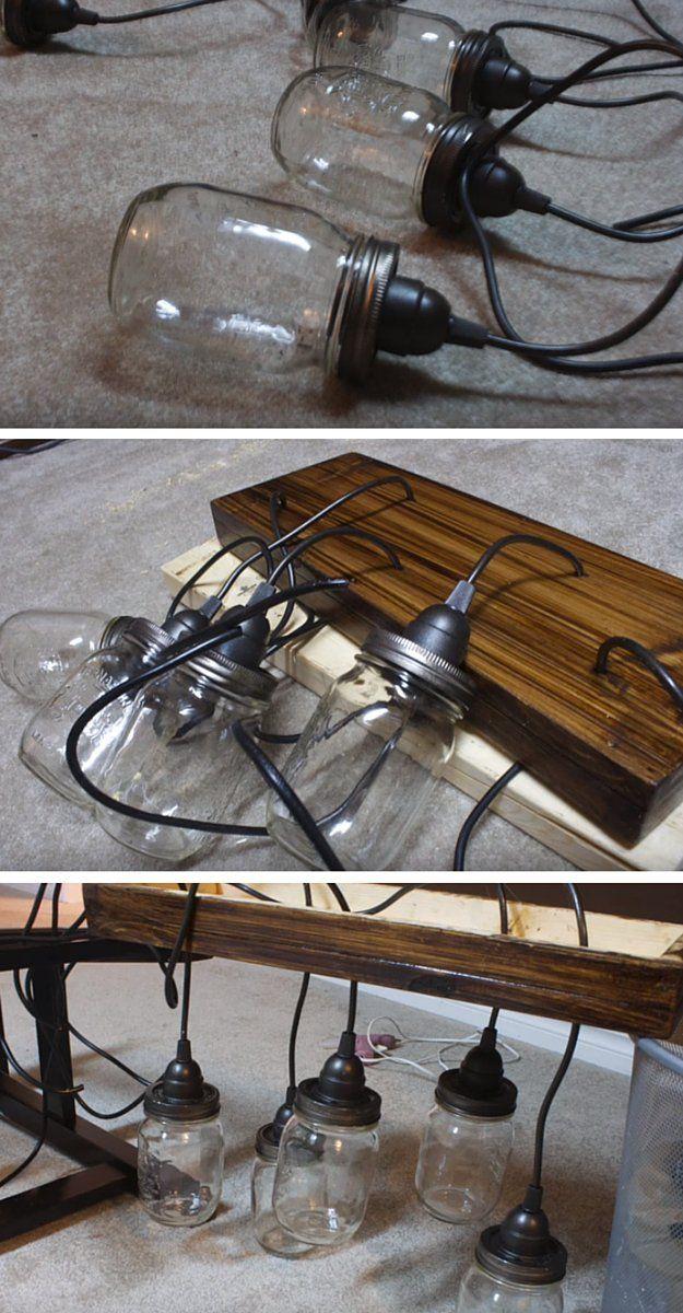 How to make a mason jar chandelier kroonluchter van potten lampen en verlichting - Deco hangende toilet ...