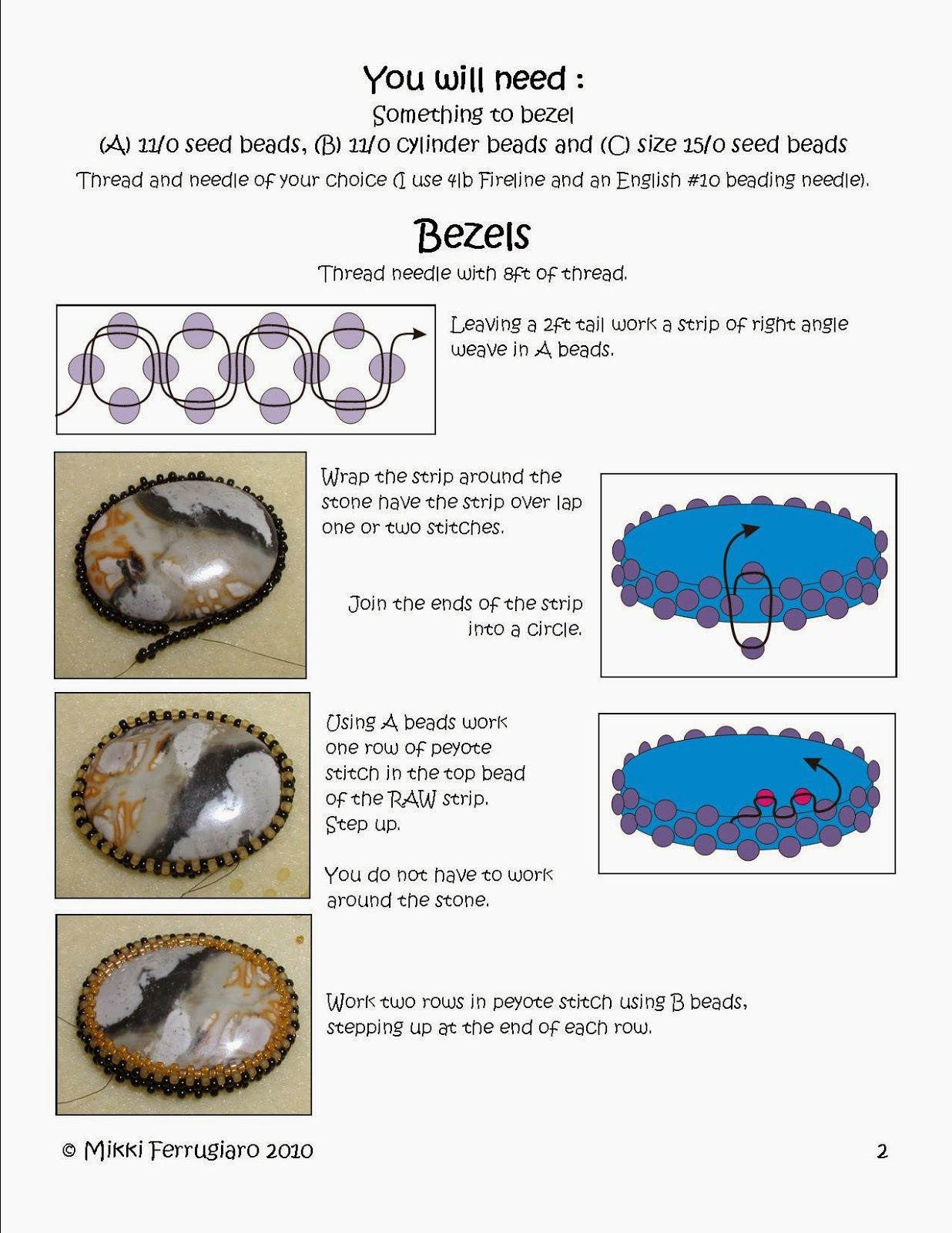Bead Mavens: create a simple bezel with beads. #Seed #Bead #Tutorials
