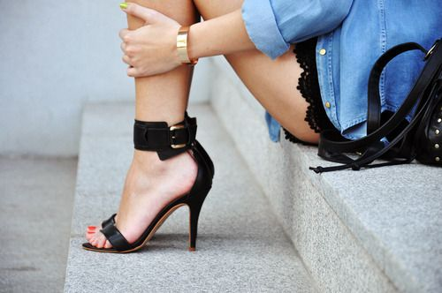 denim and black lace