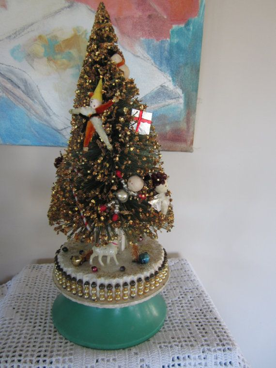 Vintage Decorated Christmas Tree Music Box Spun Head By Myfancies Decorated Bottle Christmas Tree Music Box Christmas Tree Decorations
