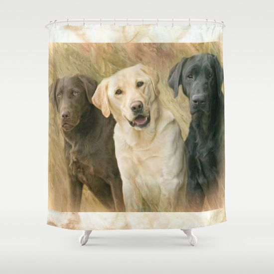 Buy Shower Curtains Featuring Labrador Retriever Friends By Trudi Simmonds.  Made From 100% Easy