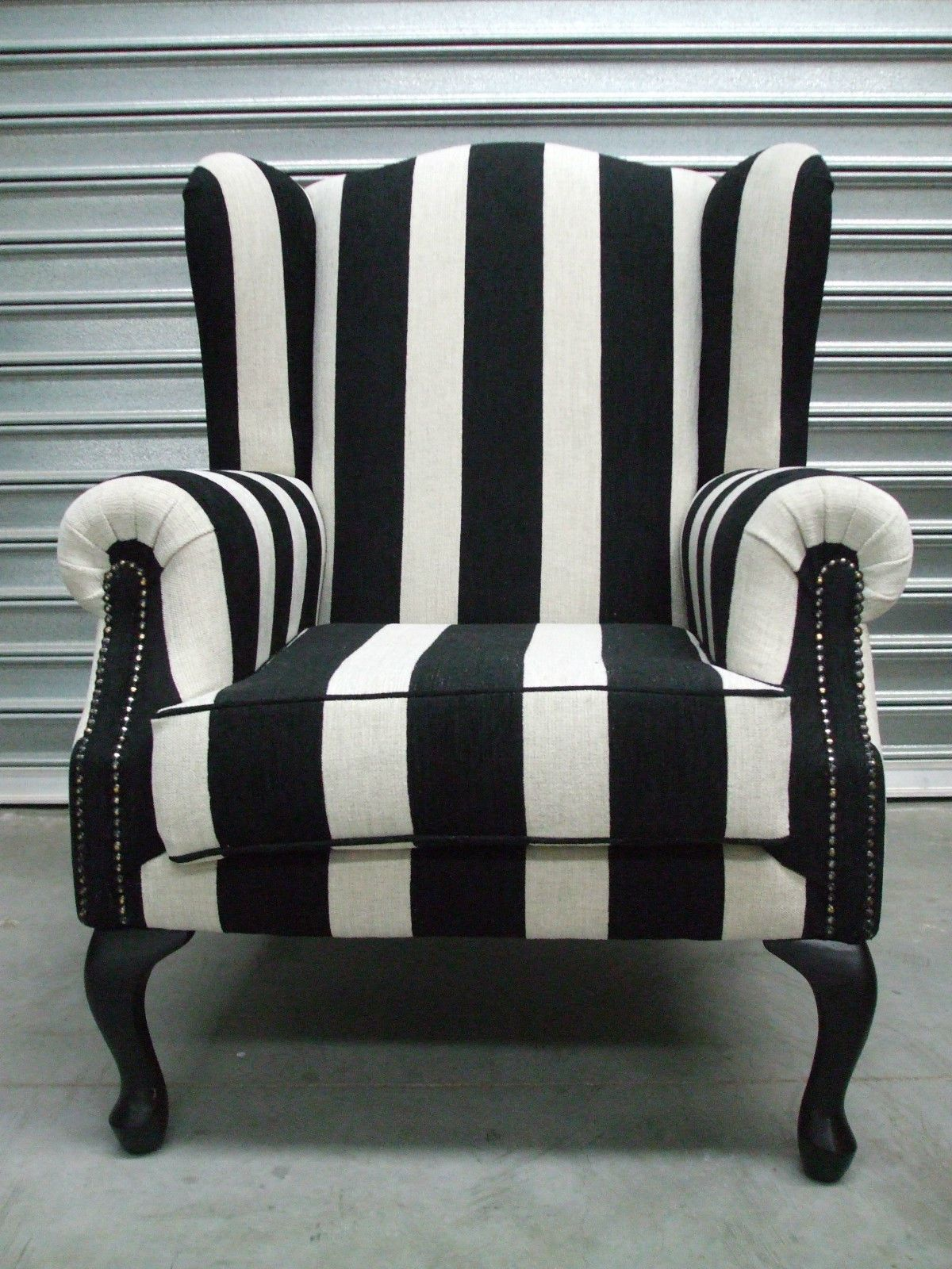 Wing Chair New Black Stripe In Home Garden Furniture Sofas Couches Ebay
