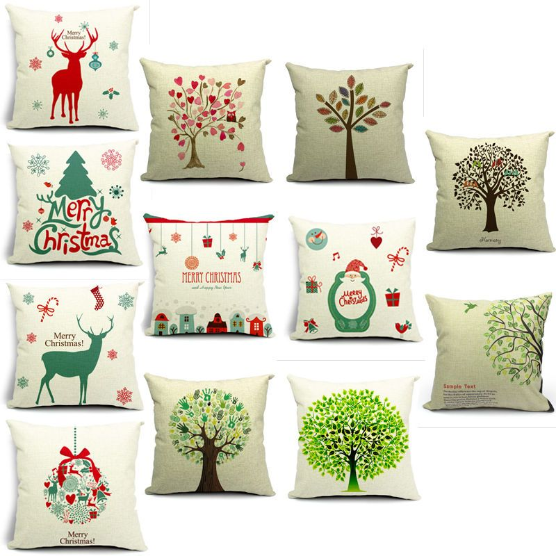 Christmas Design Home Decorative Square Pillow Cases Sofa Cushion Cover 2  Sizes
