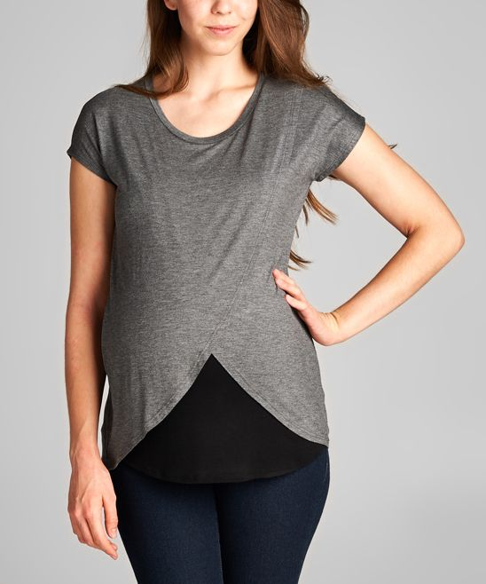 Hello Miz Charcoal & Black Color Block Modal-Blend Maternity & Nursing Tee