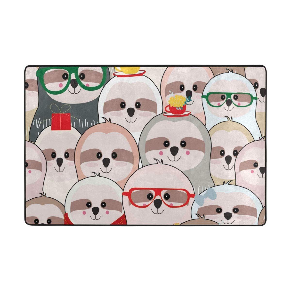 Vantaso Soft Foam Area Rugs Cute Sloth Non Slip for Kids