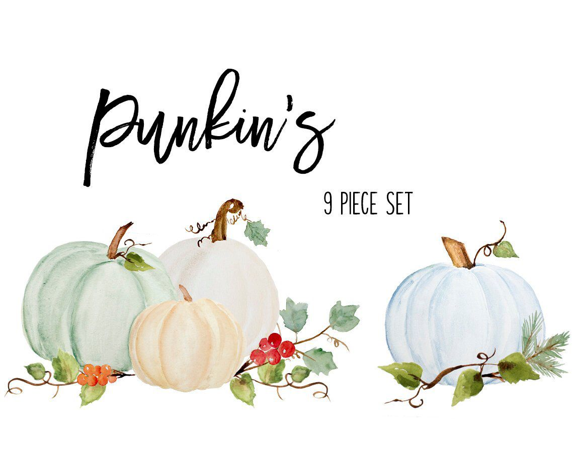 Pumpkin Clip Art Fall Watercolor Clipart Dusty Blue Green