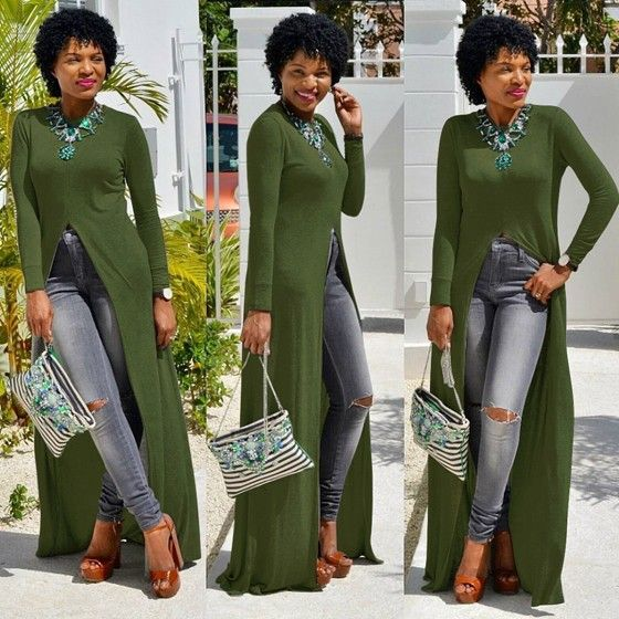 74e1e716306a Army Green Plain Irregular Draped High Slit Long Sleeve Casual Maxi Dress