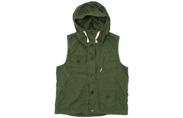 Army Green Field Vest w/Hood and Drawstrings