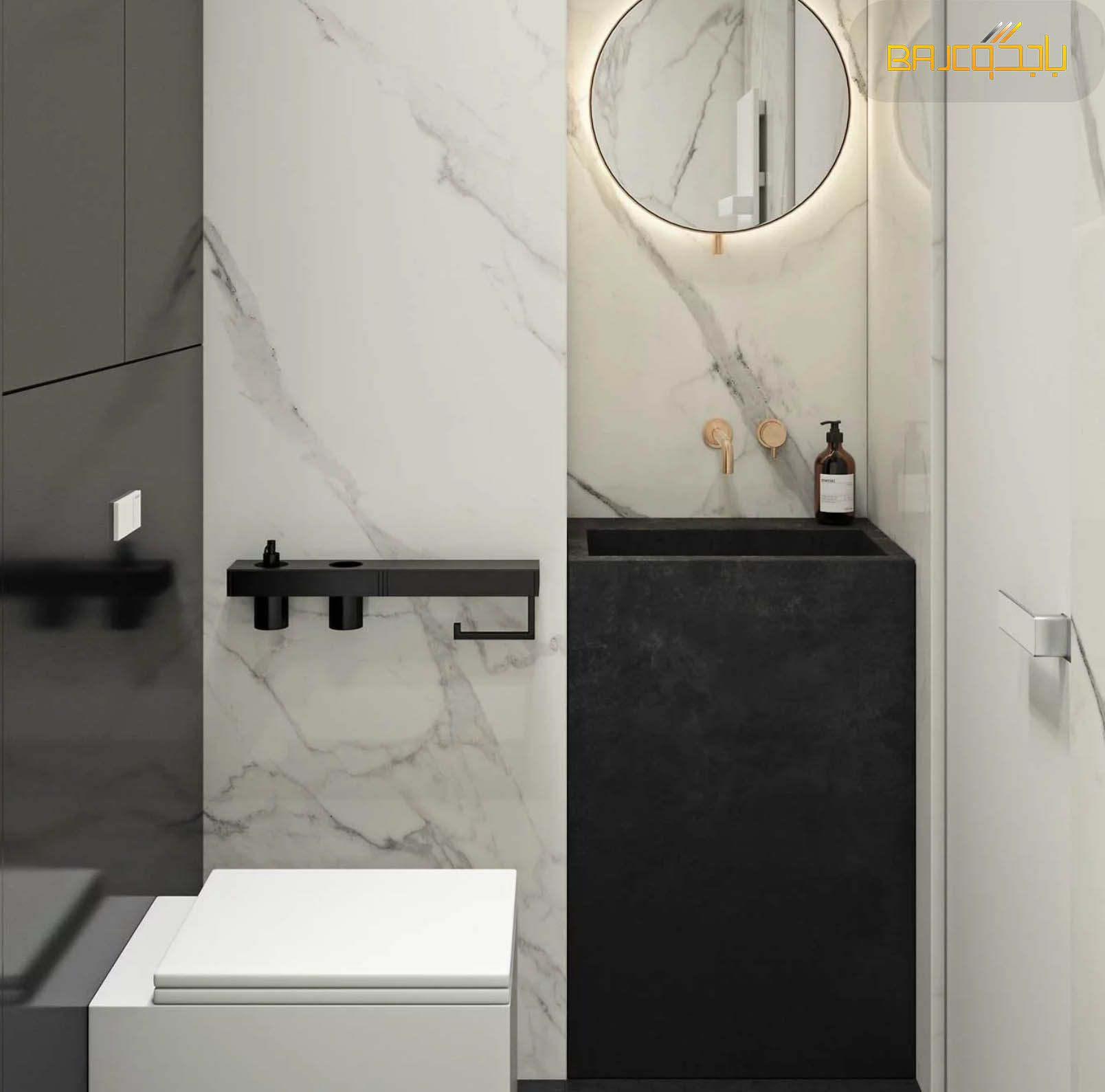 مغسلة رخام اسود Round Mirror Bathroom Bathroom Mirror Mirror