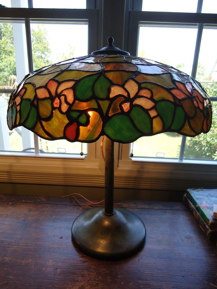 Art-Deco Leaded Lamp cr1900-1920,Handel,Unique,hubbel sockets,Tiffany era #ArtDeco #HandelUnique