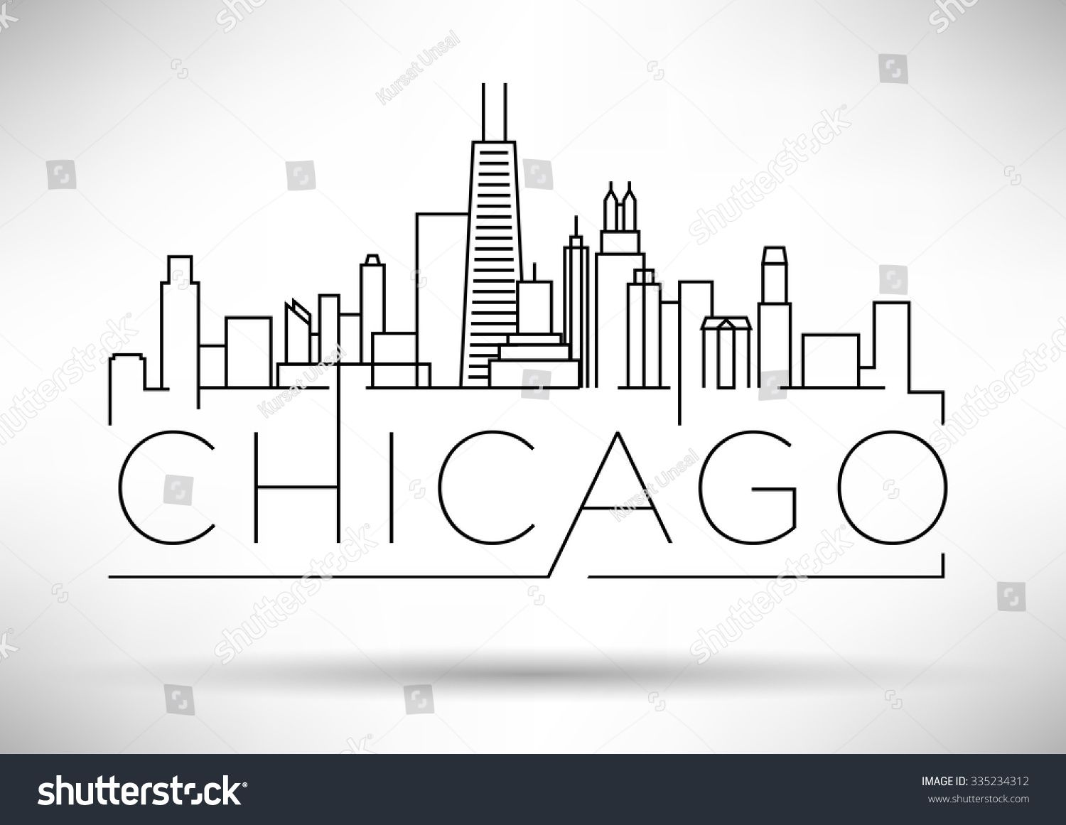 Linear Chicago City Silhouette With Typographic Design City Silhouette Chicago Skyline Silhouette Chicago Skyline Tattoo