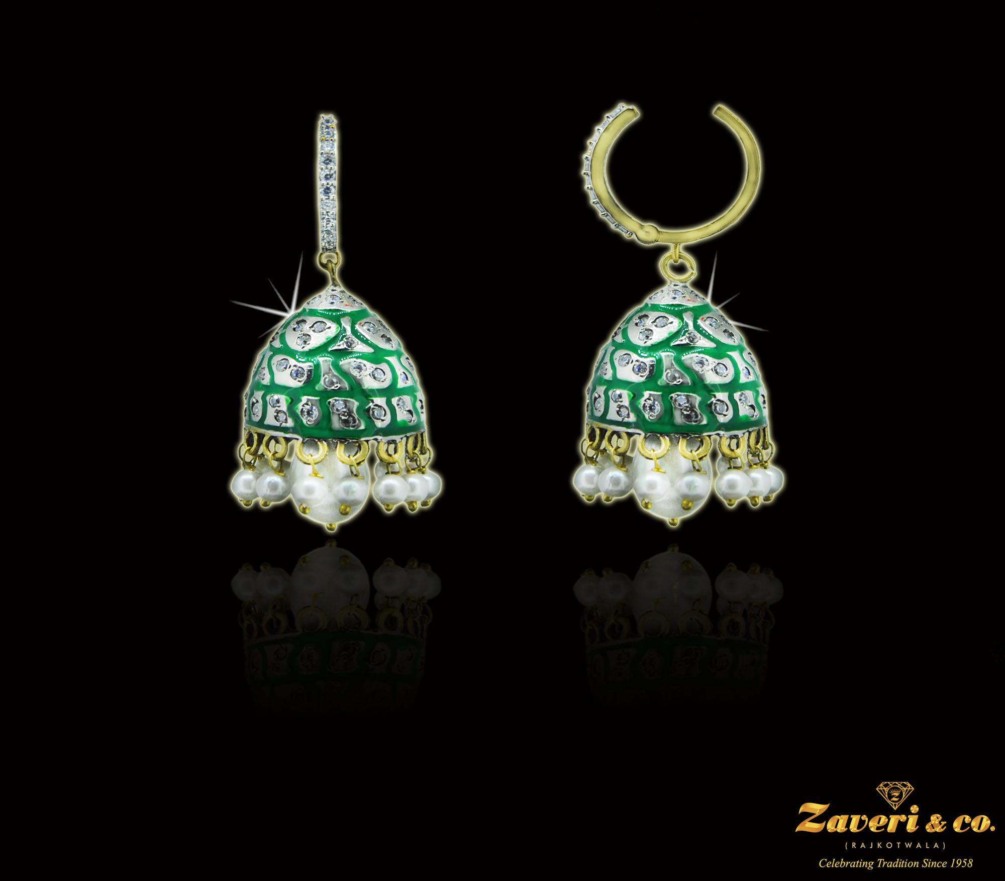 Breathtaking pair of temple bell earrings gold jewellery