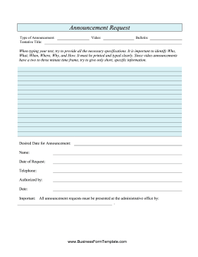 this free church printable is an announcement request form which