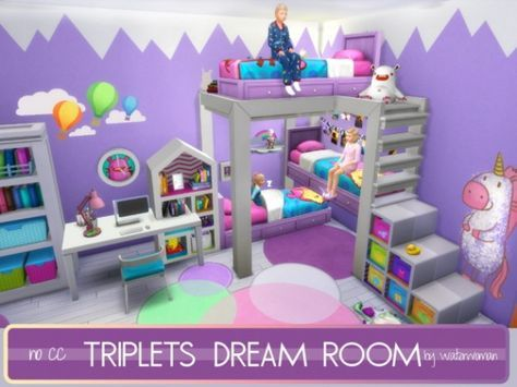 Akisima Sims Blog Triplets Dream Room No Cc Sims 4 Downloads Sims Baby Sims 4 Toddler Sims 4 Bedroom