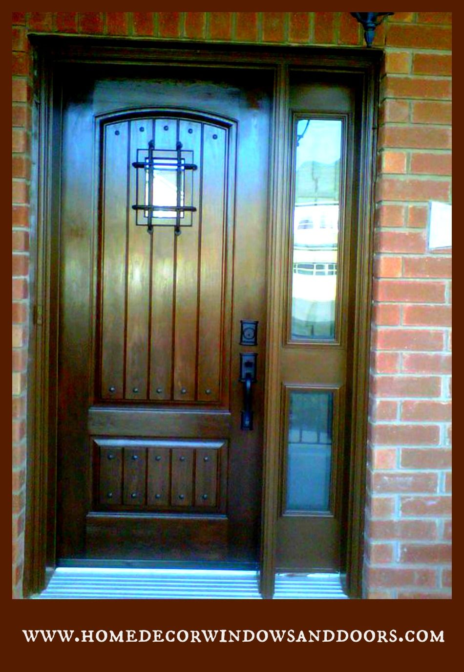 Custom Fiberglass Door With Speakeasy And Custom Sidelite Custom Front Entry Doors Door Design Modern Fiberglass Door