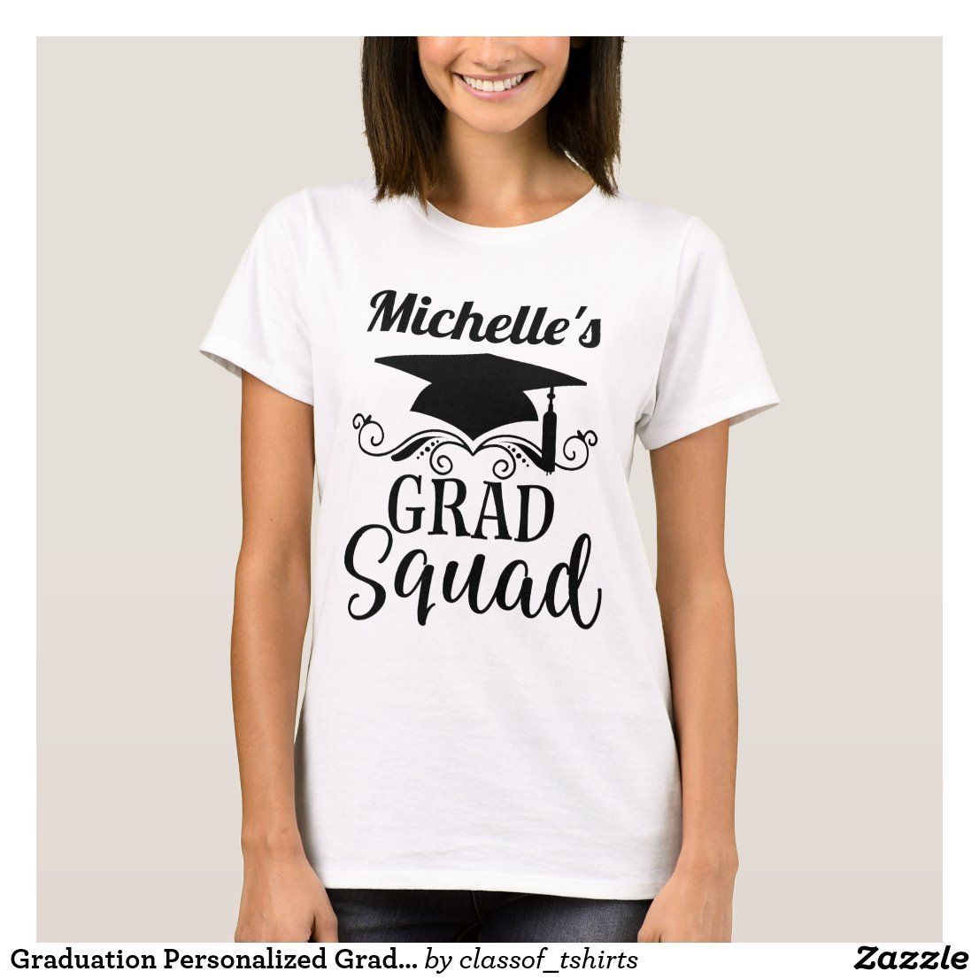 Graduation personalized grad squad tshirt in