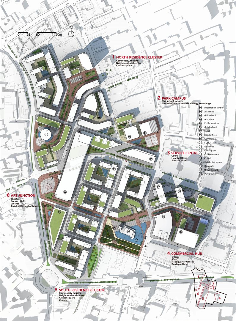 Urban design of barbican london urban design i for Site plan drawing online