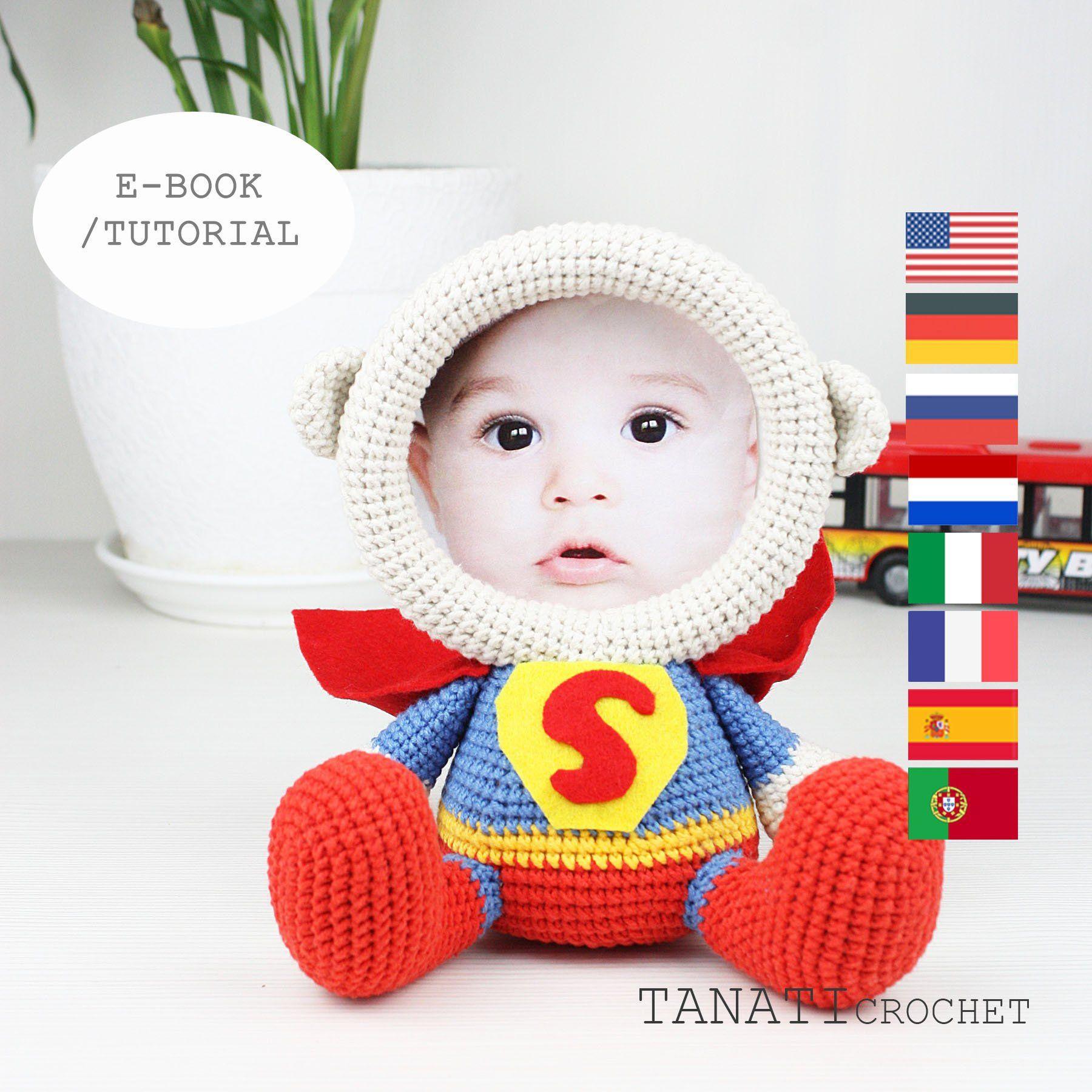 "Patrón de Crochet ""SUPERMAN, marco para foto""(Tutorial, archivo PDF) #minioncrochetpatterns"