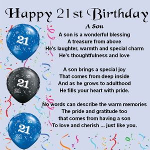 Happy 21st Birthday To My Son Images