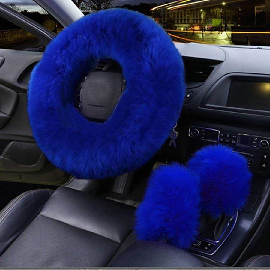 3Pcs//Set Soft Plush Wool Steering Wheel Cover Furry Fluffy Car Accessory