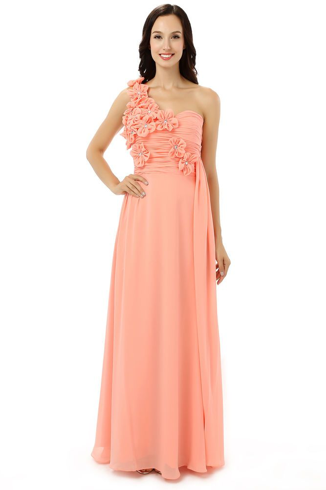 Flowered One Shoulder Evening/Formal/Ballgown/Bridesmaid/Prom Dress ...