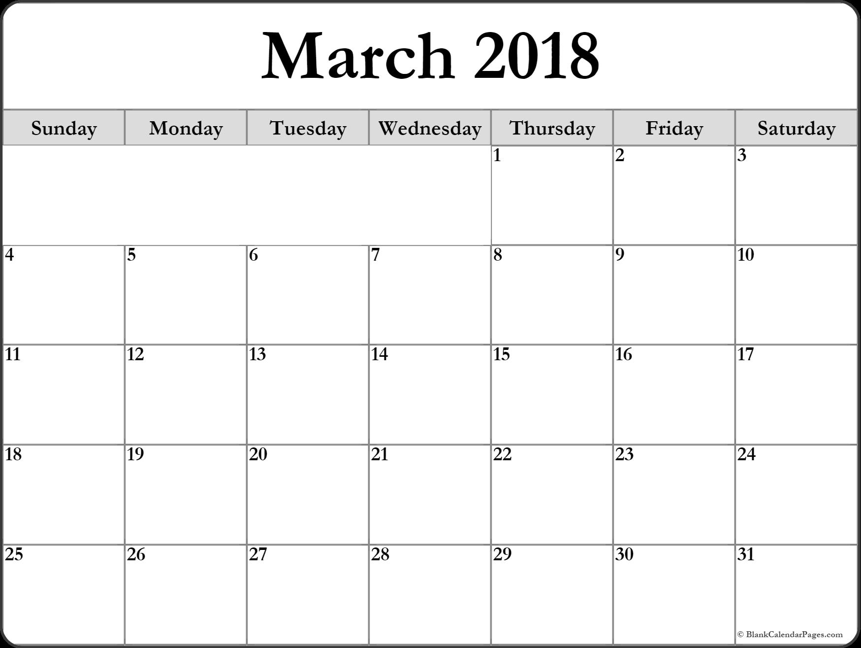 March  Printable Calendar March Printable Calendar