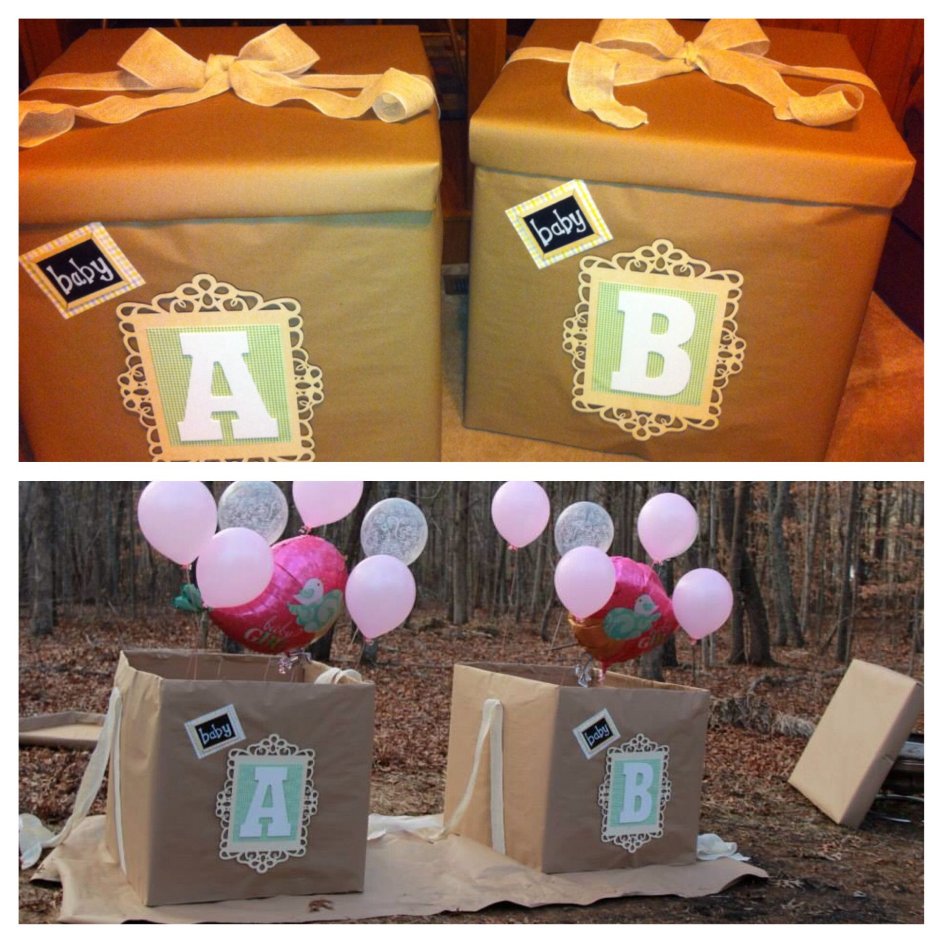 Gender Neutral Twin Reveal Boxes Of Balloons Baby Gender Reveal Gender Reveal Party Reveal Ideas