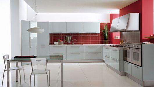 Red White Modern Kitchen Design Plushemisphere