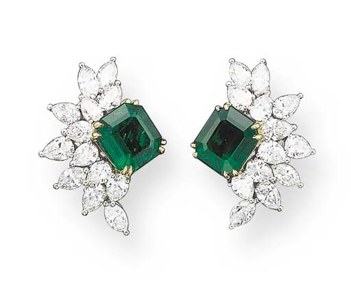 A Pair Of Emerald And Diamond Ear Clips By Tiffany Co Tops