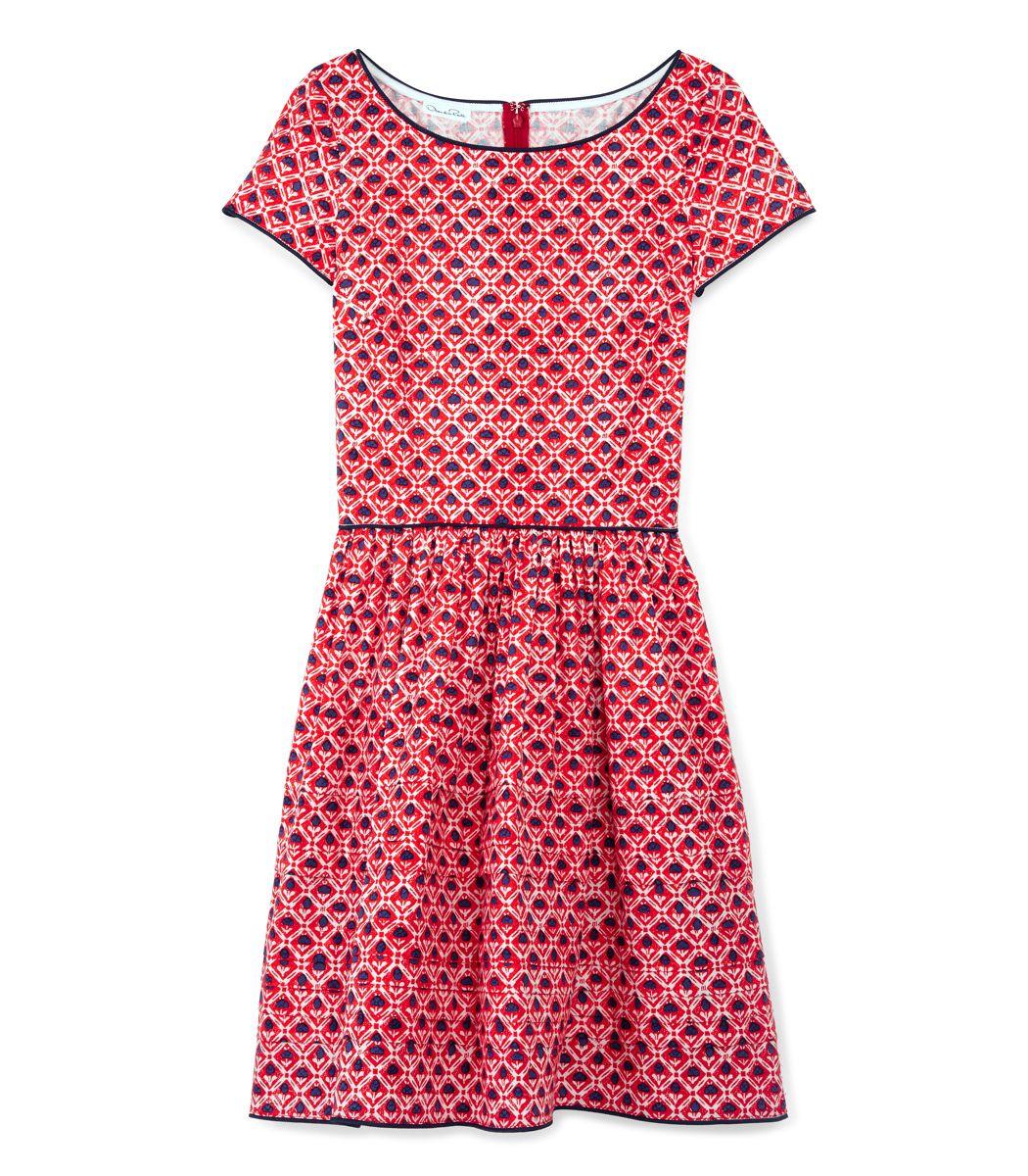 Red dresses at shopbazaar oscar de la renta poplin pansy floral