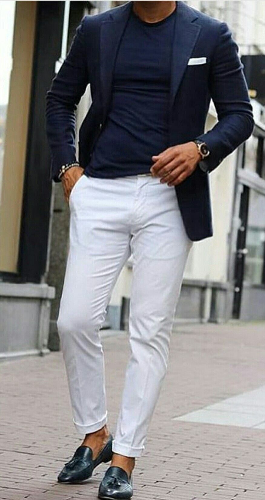 mens fashion style - dark blue blazer and white chino summer style