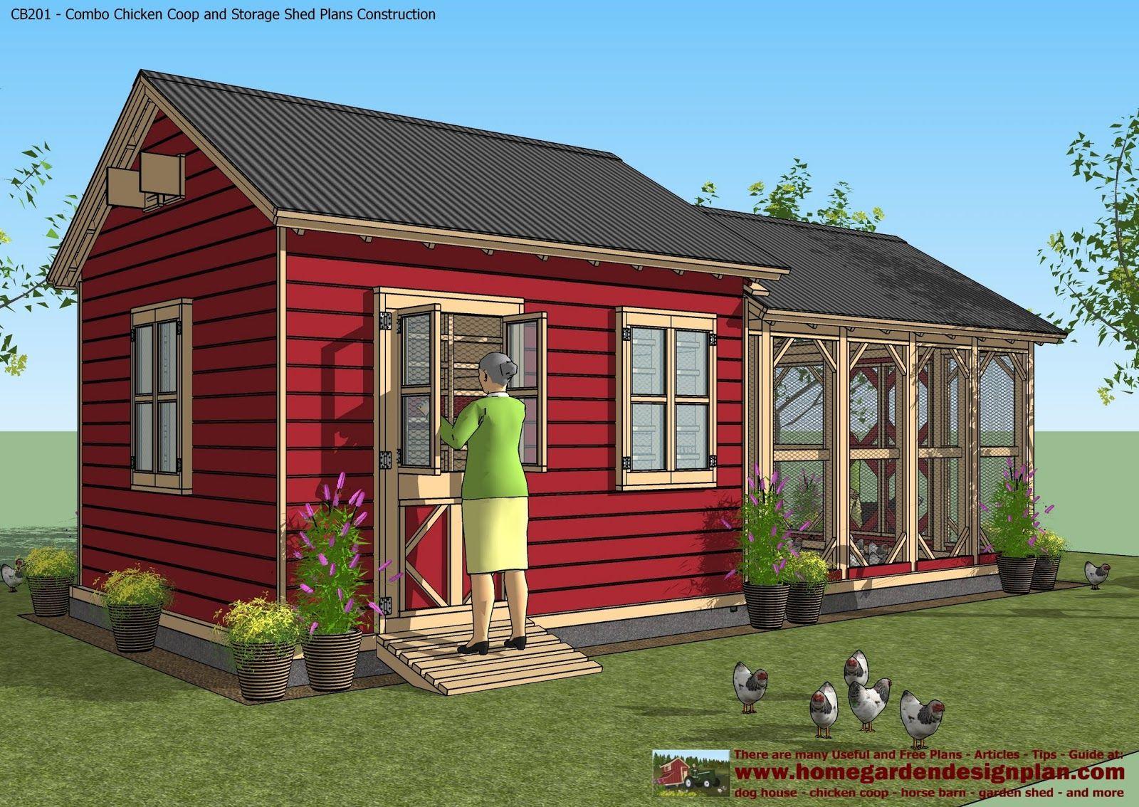 Cb201 Combo Plans En Coop Construction Garden Sheds Storage