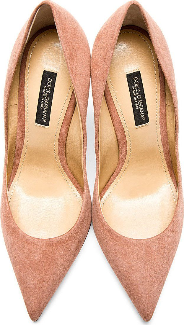 b1b72b39c32 Dolce  amp  Gabbana Rose Suede Pointed Pumps 42003F129006 Suede pumps in dusty  rose. Pointed