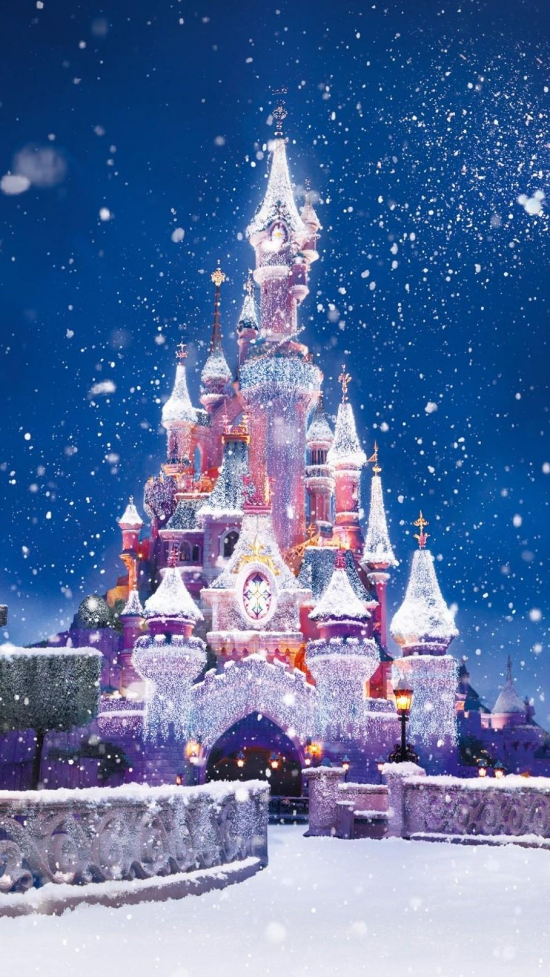 Holiday Disney Castle Christmas Lights Snow Android