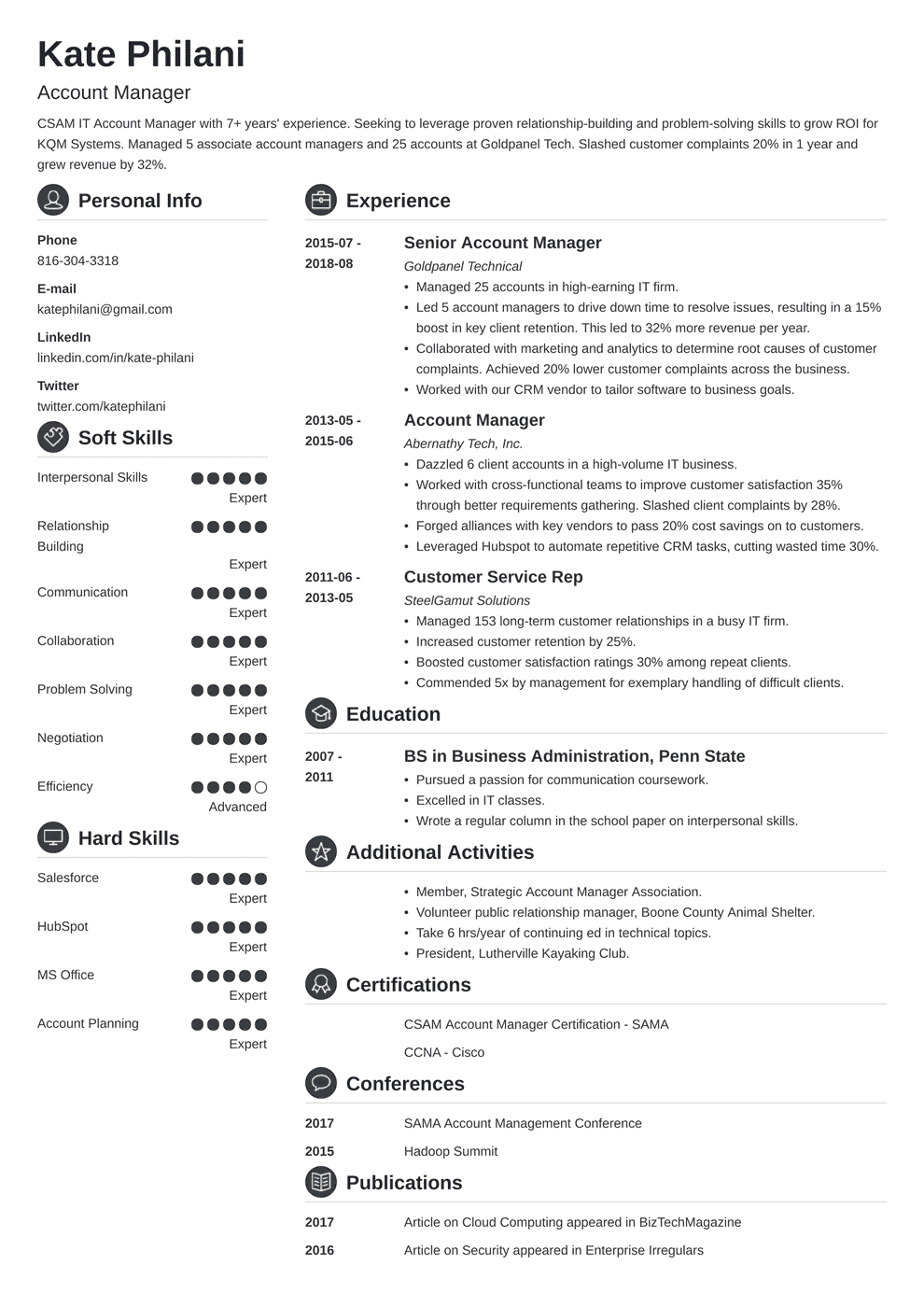 account manager resume template crisp in 2020 Resume