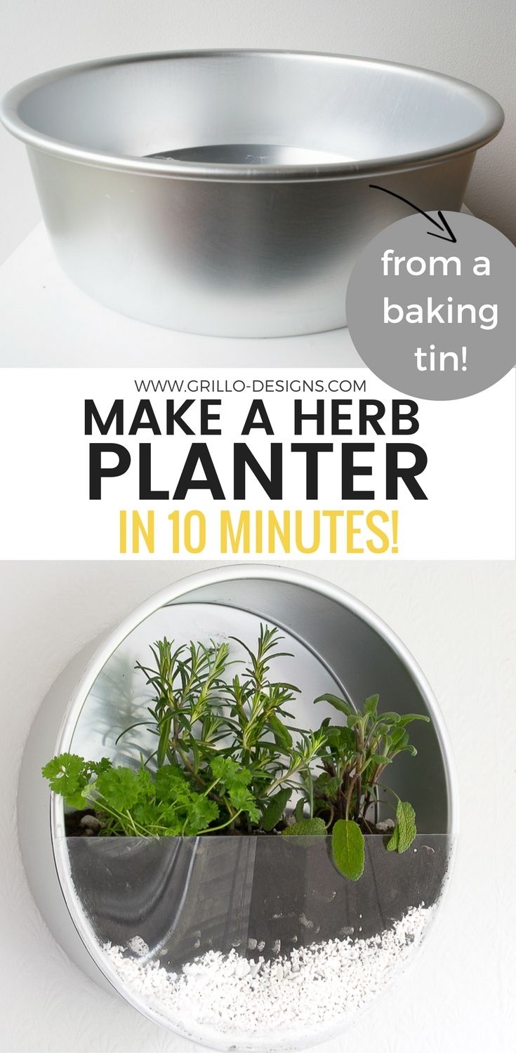 Baking tin herb planter - repurpose some of your old baking tins and make this indoor herb planter for your kitchen. You can do it in 10 mins!