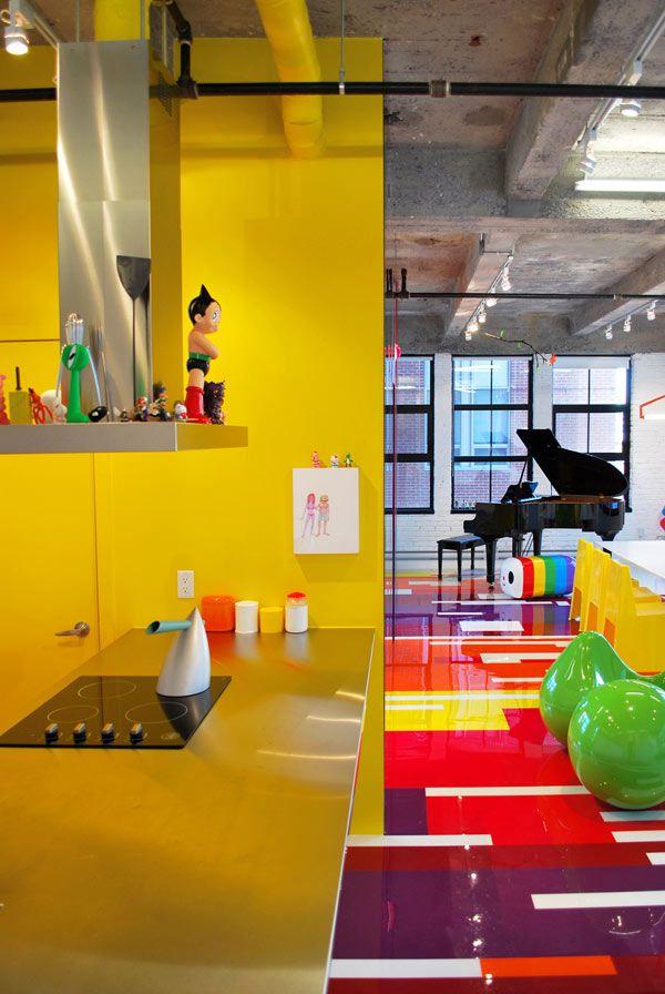 Decoración de Loft colorido de Jean Verville - Cocina y Sala   Dream ...
