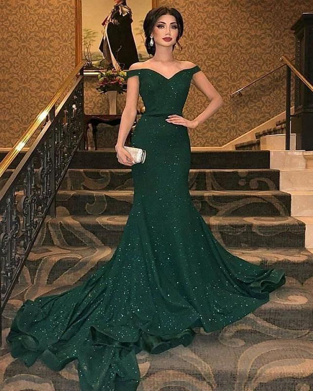 Emerald Shinning Off Shoulder Mermaid Evening Dresses 2019