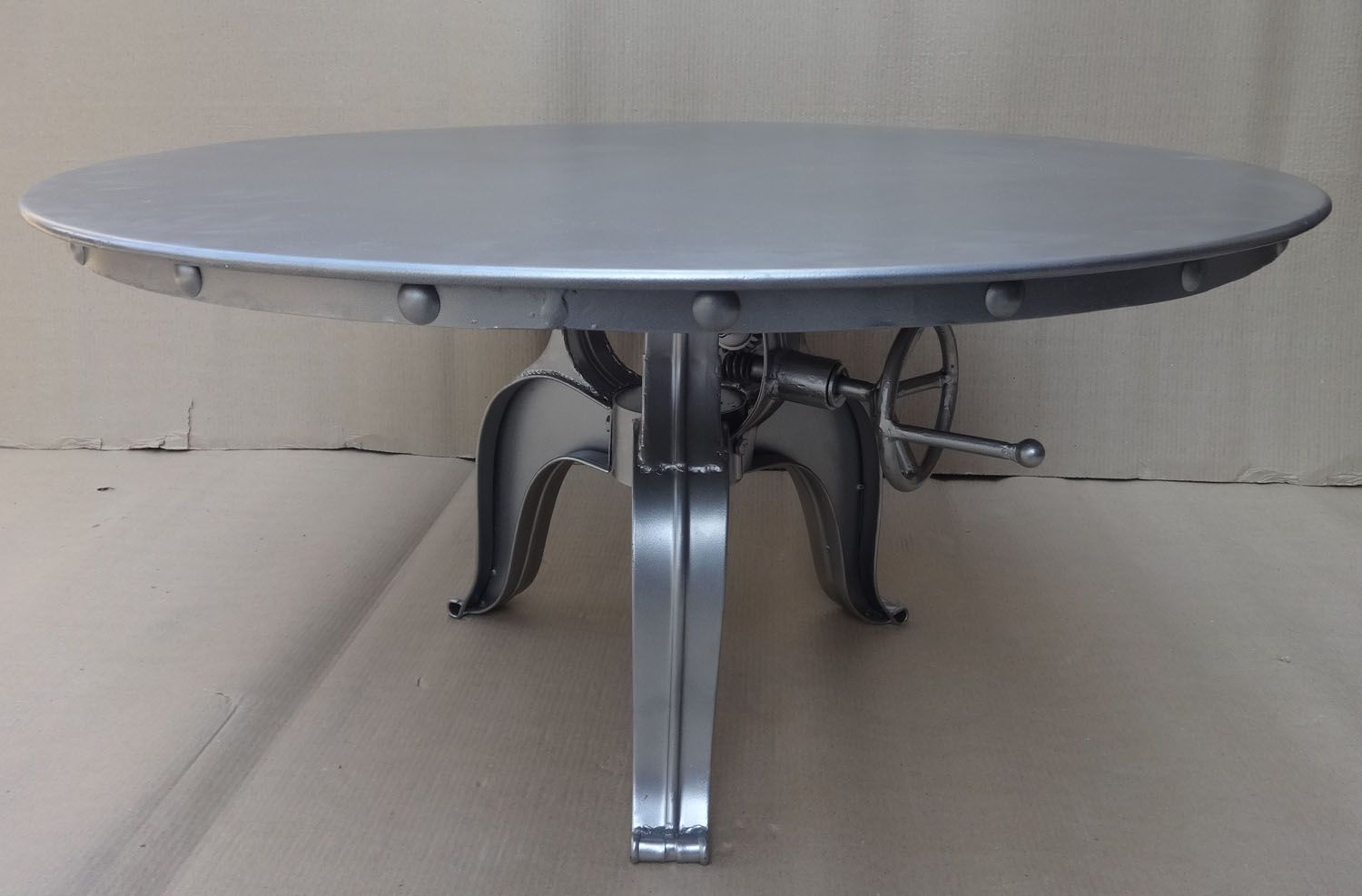 Metal Made Industrial Coffee Table, Riveted Metal Top. Typical Industrial  Furniture For Home Decor