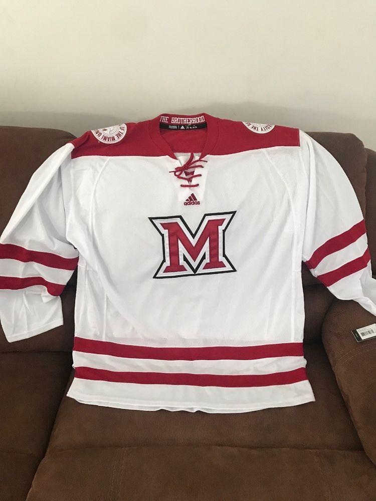 Adidas Miami University Redhawks Ohio Ncaa Hockey Jersey NWT Size 2XL Mens   ef8a374ca