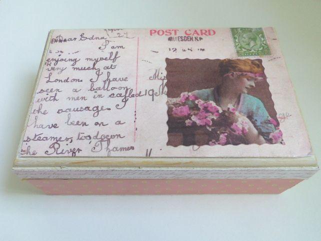 Vintage Postcard Jewellery Box