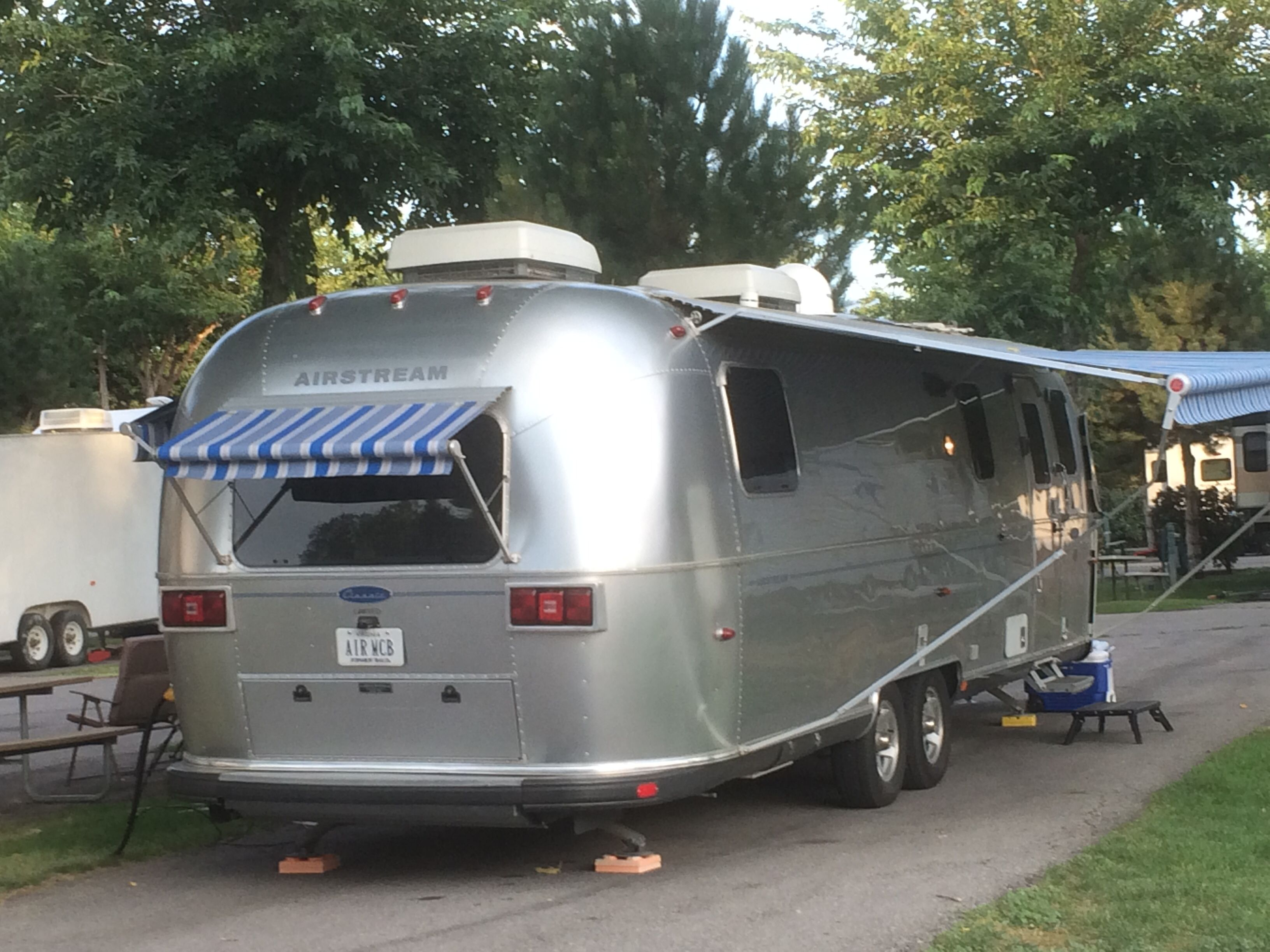 "Airstream ""Classic"" with blue-striped awnings at the Salt ..."