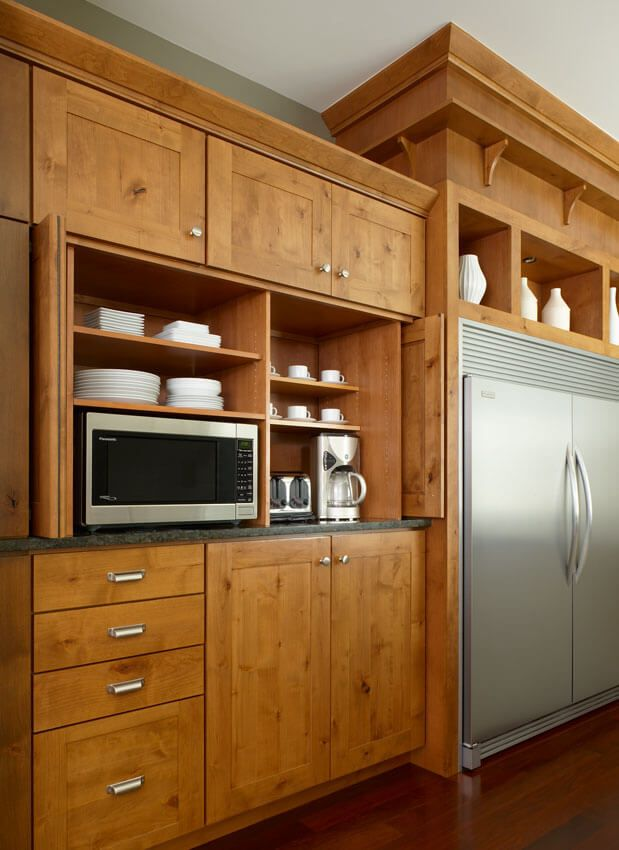 Kitchen remodeling ideas: Microwave oven storage and coffee area with open shelving - www.ewkitchens.com - Troy & Wixom, MI