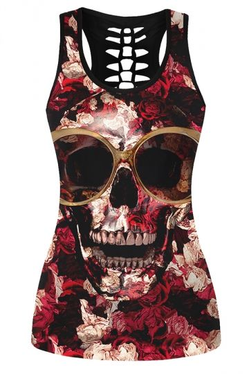 38326f4eb98f0a Womens Hollow Out Racer Back Rose Skull Printed Tank Top Black ...