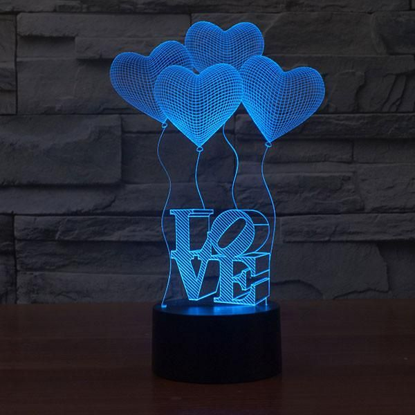 Four Love Ballons Colorful 3d Led Lamp Goamiroo Store 3d Illusion Lamp 3d Led Night Light Balloon Lights