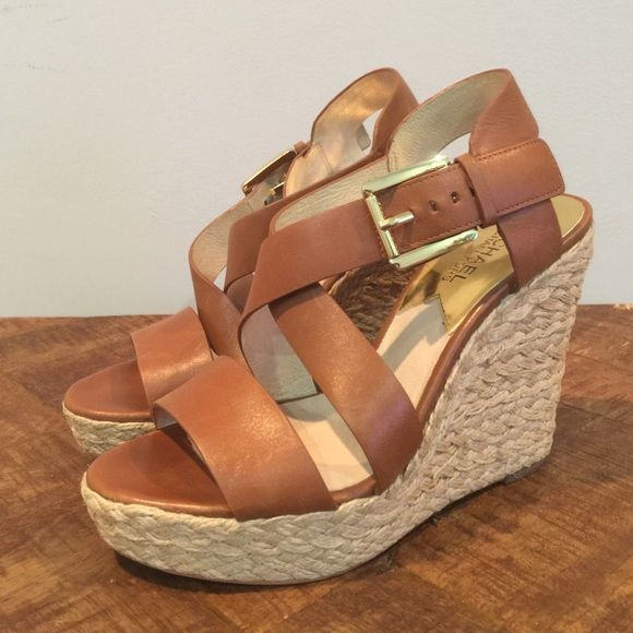 Michael Kors Giovanni Wedge Giovanna espadrille wedge with luggage brown leather straps. No trades. Michael Kors Shoes Espadrilles